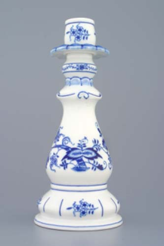 Zwiebelmuster Candle Holder 1982 21.5cm, Original Bohemia Porcelain from Dubi