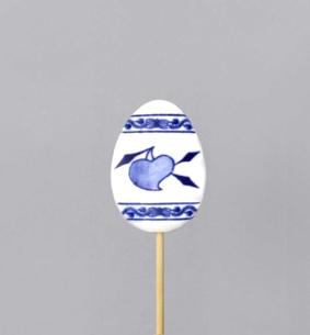 Zwiebelmuster Egg stick Decoration 5.5cm, Original Bohemia Porcelain from Dubi