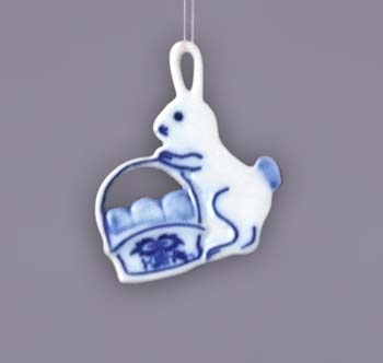Zwiebelmuster Easter Decoration Rabbit, Original Bohemia Porcelain from Dubi