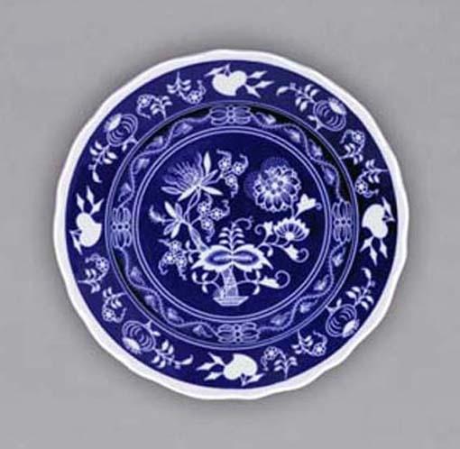 Nega Zwiebelmuster WAll Flat Dessert Plate, Bohemia Porcelain from Dubi