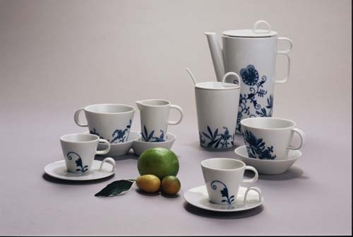Zwiebelmuster Coffee Set Bohemia Cobalt, Bohemia Porcelain from Dubi