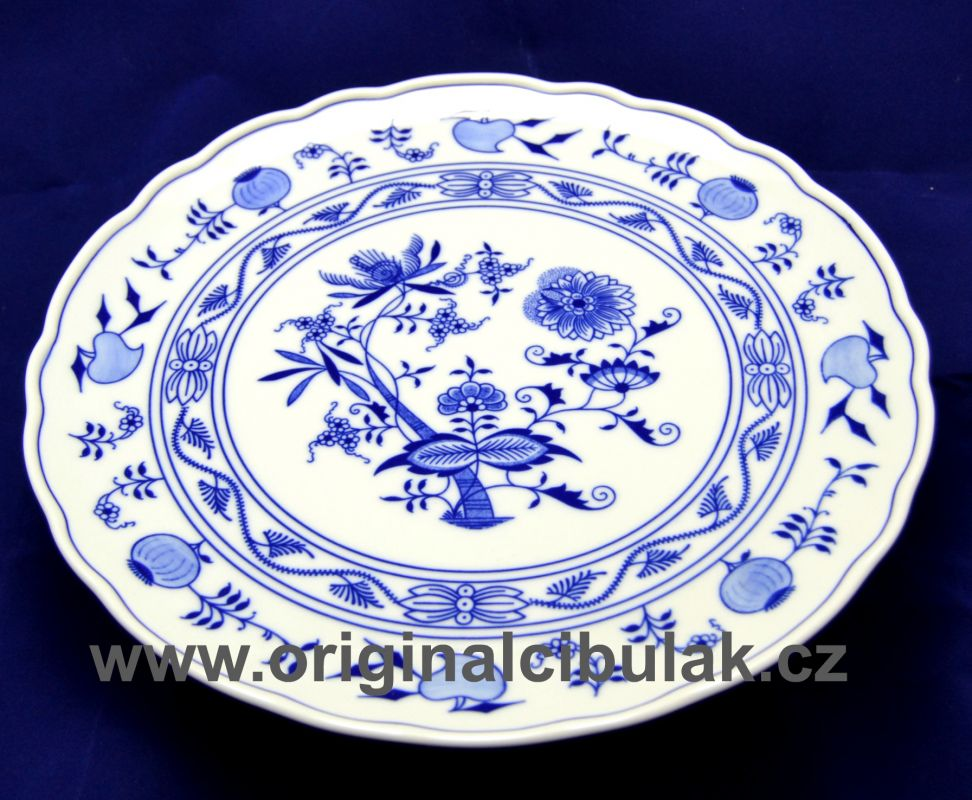 Zwiebelmuster Cake Plate 31cm, Original Bohemia Porcelain from Dubi