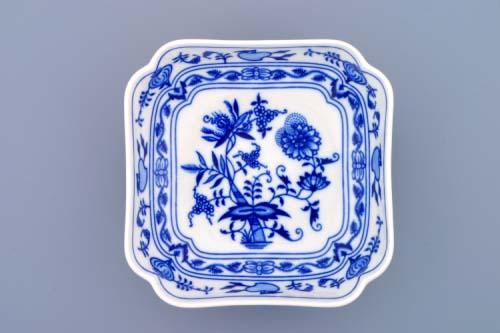Zwiebelmuster Square Salad Dish Deep 15cm, Original Bohemia Porcelain from Dubi