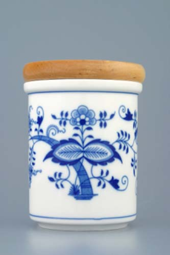 Zwiebelmuster Container B with Wooden Cover Medium, Original Bohemia Porcelain from Dubi