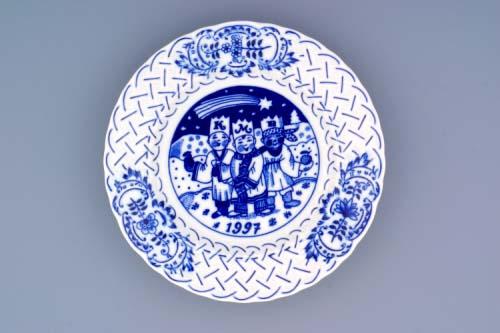 Zwiebelmuster Jahrestagteller relief 1997 18cm Original Bohemia Porzellan aus Dubi