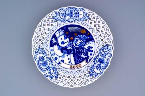 Zwiebelmuster Jahrestagteller durchbrochen 2000 18cm Original Bohemia Porzellan aus Dubi