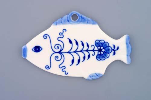 Zwiebelmuster Weihnachtsschmuck - Fisch 11cm Original Bohemia Porzellan aus Dubi