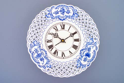 Zwiebelmuster Zifferblatt mit Uhrenwerk 27cm durchbrochen Original Bohemia Porzellan aus Dubi