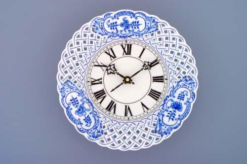 Zwiebelmuster Zifferblatt mit Uhrenwerk 24cm durchbrochen Original Bohemia Porzellan aus Dubi