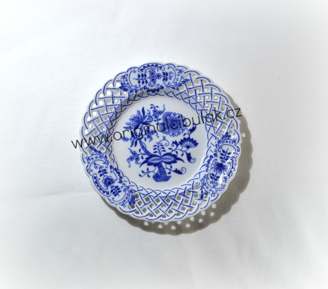 Zwiebelmuster Teller durchbrochen 18cm Original Bohemia Porzellan aus Dubi