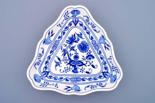 Zwiebelmuster Salatschüssel 3- eckig 24cm Original Bohemia Porzellan aus Dubi