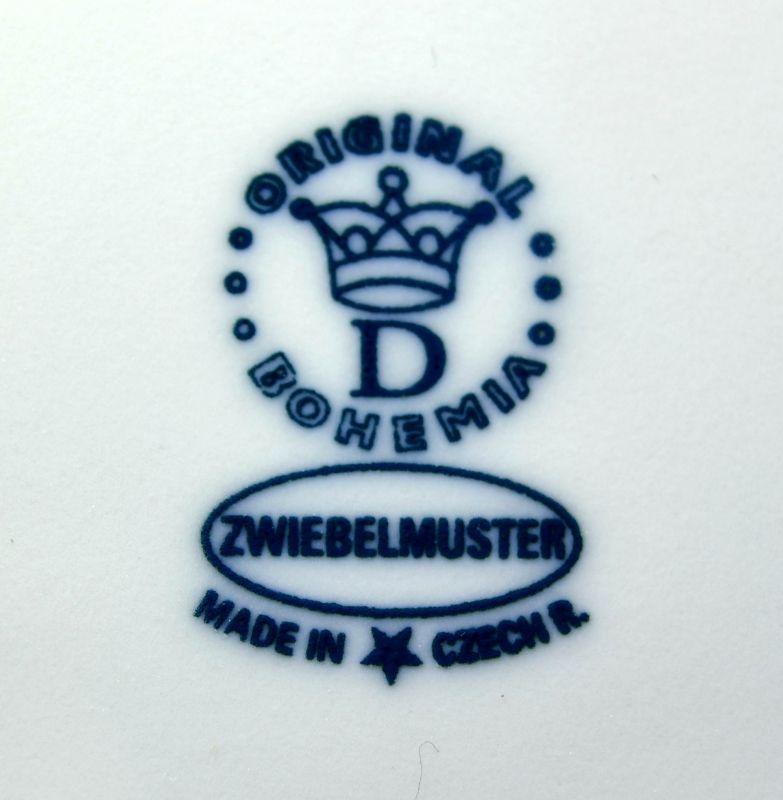 Zwiebelmuster Kuchenteller mit Henkel 28cm Original Bohemia Porzellan aus Dubi