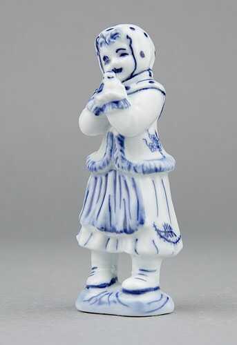 Zwiebelmuster Mädchen+Vogel 10,8cm Original Bohemia Porzellan aus Dubi