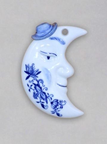 Zwiebelmuster Weihnachtsschmuck - Mond - beidseitig 9,5cm Original Bohemia Porzellan aus Dubi