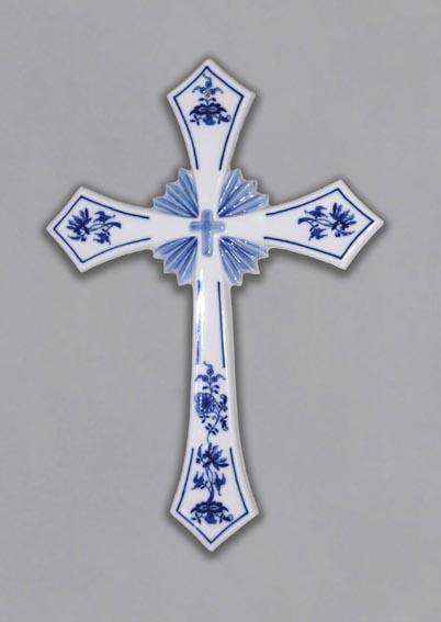 Zwiebelmuster Kreuz 30,6cm Original Bohemia Porzellan aus Dubi