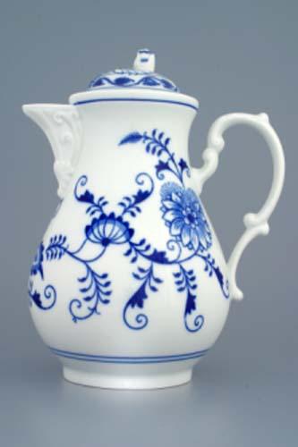 Zwiebelmuster Kaffeekanne mit Deckel 1,55L Original Bohemia Porzellan aus Dubi