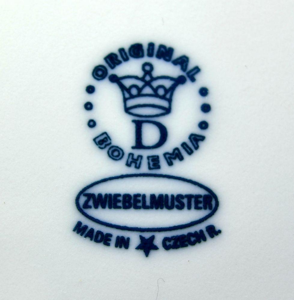 Zwiebelmuster Obstschale 5-eckig mit niedrigem Zierfuss 24cm Original Bohemia Porzellan aus Dubi
