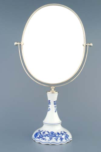 Zwiebelmuster Drehbarer Spiegel in Silber - oval 48cm Original Bohemia Porzellan aus Dubi