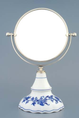 Zwiebelmuster Drehbarer Spiegel in Silber - rund 32cm Original Bohemia Porzellan aus Dubi