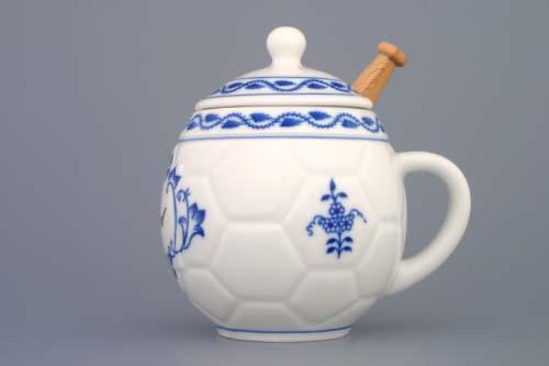 Zwiebelmuster Honigbecher mit Deckel und Anschrift Honig mit Löffel Original Bohemia Porzellan aus Dubi
