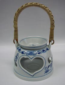 Zwiebelmuster Aromalampe 10cm Original Bohemia Porzellan aus Dubi