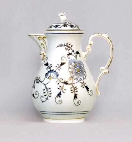 Zwiebelmuster Kaffeekanne mit Deckel 1,55L Zwiebelmuster vergoldet Bohemia Porzellan aus Dubi