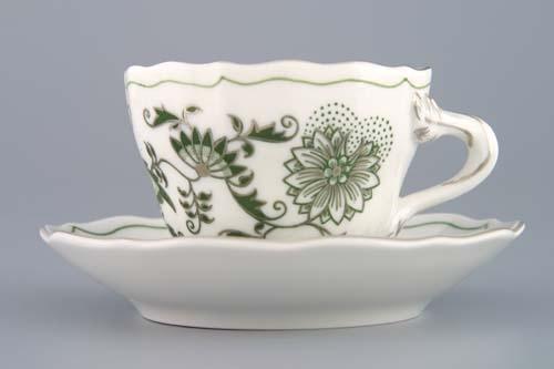 Zwiebelmuster Tasse + Untertasse A/1+A/1 zwiebelmuster grün platin Bohemia Porzellan aus Dubi