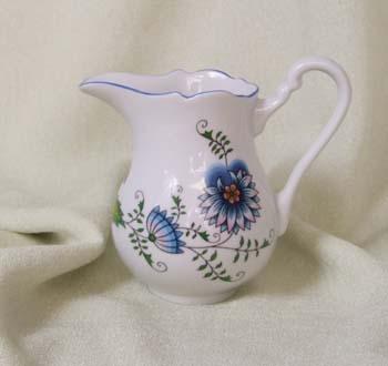 Zwiebelmuster Milchkanne hoch 0,25L - Nature zwiebelmuster farbig Bohemia Porzellan aus Dubi
