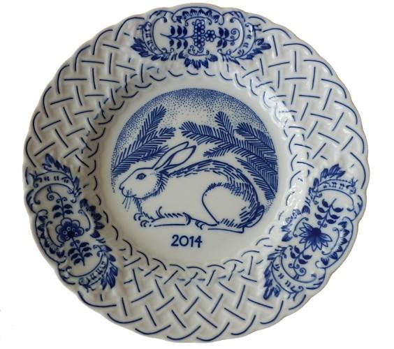 Zwiebelmuster Jahrestagteller relief 2014 18cm Original Bohemia Porzellan aus Dubi