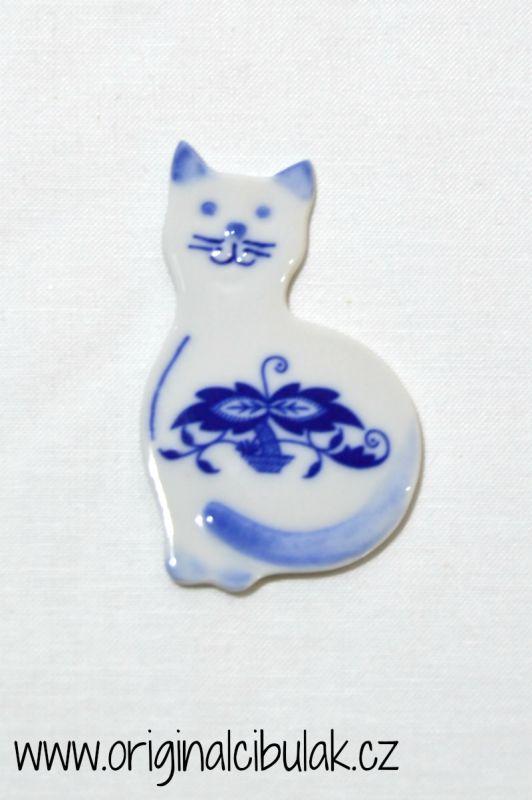 Zwiebelmuster Magnet Katze 6,6cm Original Bohemia Porzellan aus Dubi