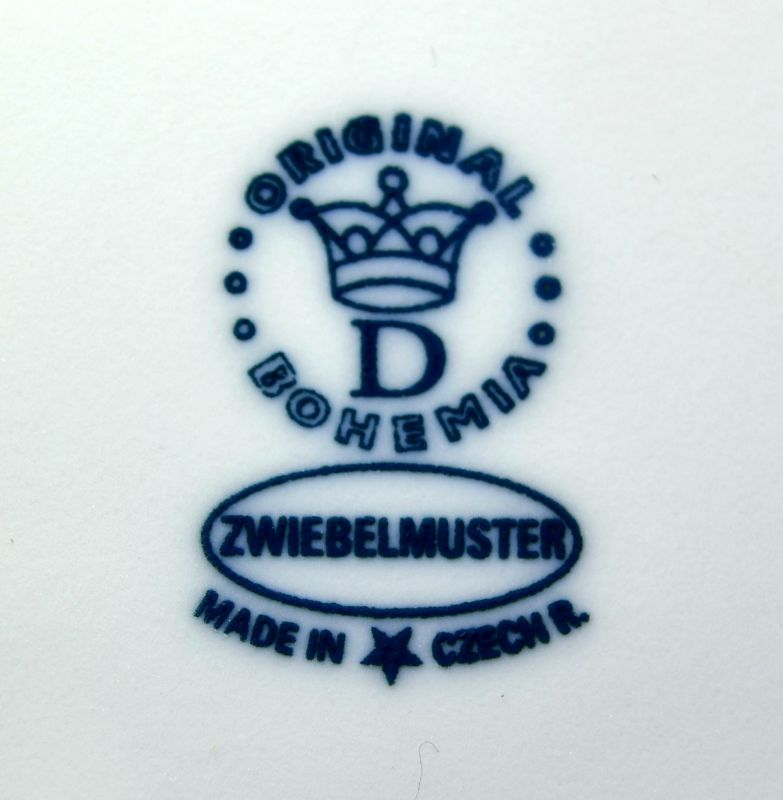 Zwiebelmuster Salatschüssel 4- eckig 26cm Original Bohemia Porzellan aus Dubi