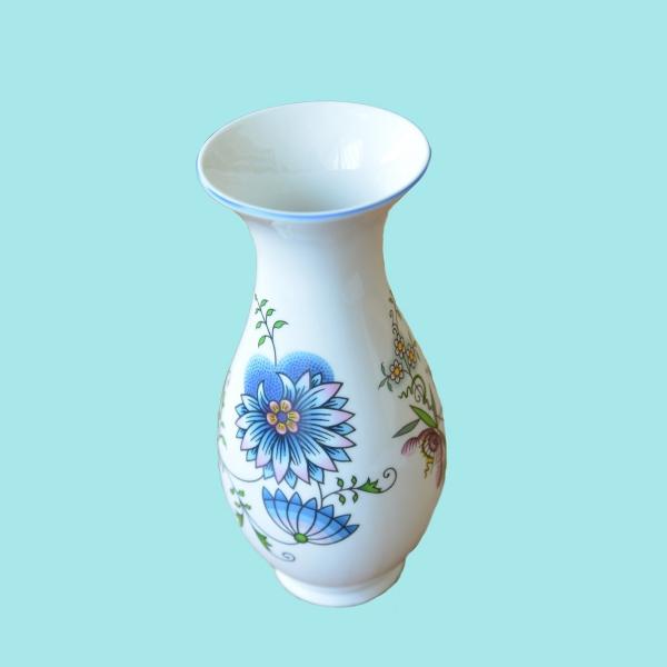 Zwiebelmuster Vase 1210/3 NATURE farbig 25,5cm Original Bohemia Porzellan aus Dubi