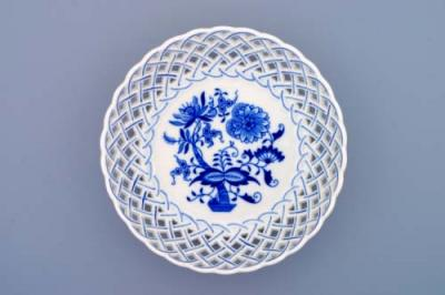 Zwiebelmuster Round Dish Perforated 18cm, Original Bohemia Porcelain from Dubi