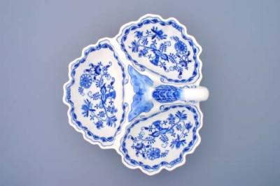 Zwiebelmuster Compartment Dish 3, Original Bohemia Porcelain from Dubi