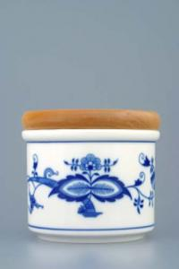 Zwiebelmuster Small Container A with Wooden Cover, Original Bohemia Porcelain from Dubi