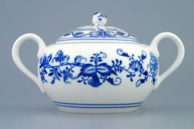 Zwiebelmuster Sugar Cotainer with Handles 0.50, Original Bohemia Porcelain from Dubi