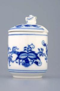 Zwiebelmuster Mustard Container with Cover, Original Bohemia Porcelain from Dubi