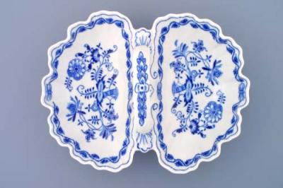 Zwiebelmuster Compartment Dish 2, Original Bohemia Porcelain from Dubi