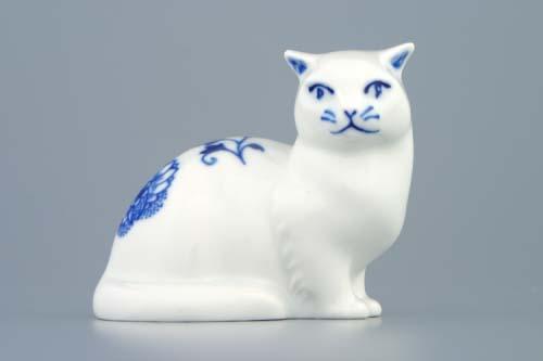 Zwiebelmuster Cat 8cm, Original Bohemia Porcelain from Dubi