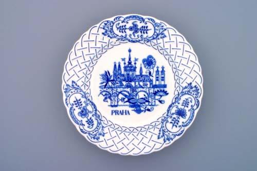 Zwiebelmuster Wall Plate Embossed Prague, Original Bohemie Porcelain from Dubi