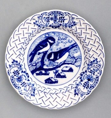 Zwiebelmuster Wall Plate Embossed 2007 18cm, Original Bohemia Porcelain from Dubi