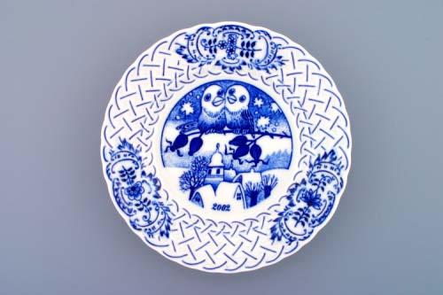Zwiebelmuster Jahrestagteller relief 2002 18cm Original Bohemia Porzellan aus Dubi