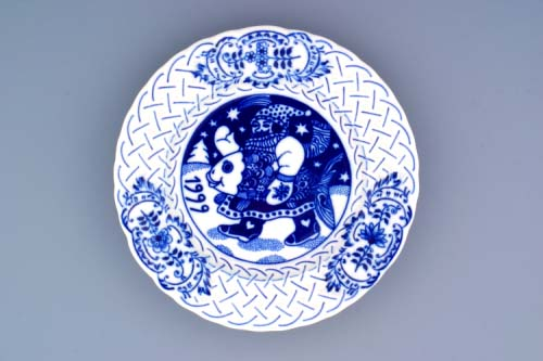 Zwiebelmuster Wall Plate Embossed 1999 18cm, Original Bohemia Porcelain from Dubi