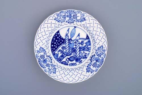 Zwiebelmuster Wall Plate Embossed 1993 18cm, Original Bohemia Porcelain Dubi