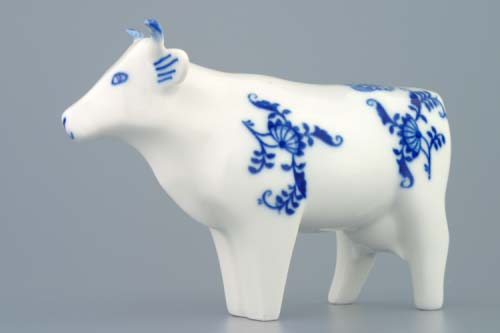 Zwiebelmuster Cow 14.5cm, Original Bohemia Porcelain from Dubi