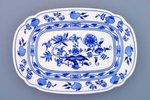 Zwiebelmuster Flat Square Dish 28cm, Original Bohemia Porcelain from Dubi