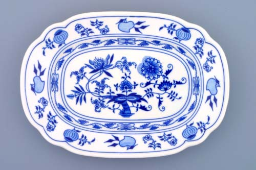 Zwiebelmuster Flat Square Dish 24cm, Original Bohemia Porcelain from Dubi