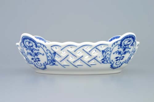 Zwiebelmuster Dish Square Perforated 17cm, Original Bohemia Porcelain from Dubi