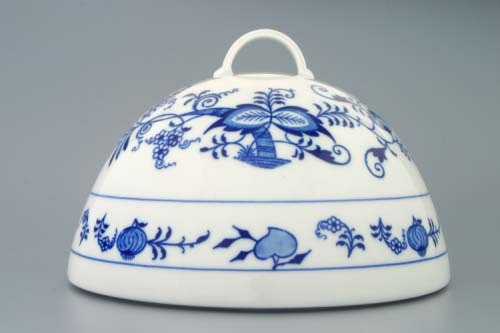 Zwiebelmuster Round Cover for Food 19cm, Original Bohemia Porcelain from Dubi