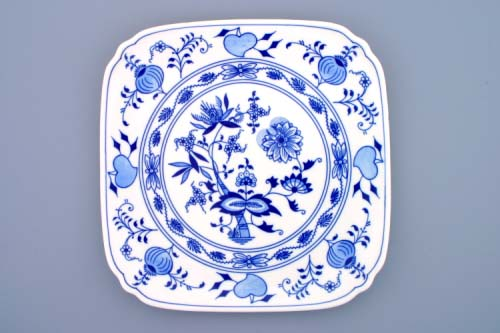 Zwiebelmuster Square Plate 29cm, Original Bohemia Porcelain from Dubi